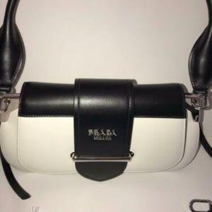 PRADA 1BD168 SIDIONE LEATHER SHOULDER BAG WHITE BL